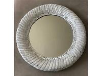 60cm white wicker round mirror