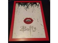 Buffy the Vampire Slayer Crayon & Glitter Art Picture in Red Frame