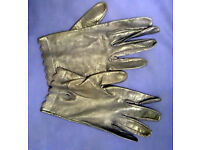 Ladies Italian Soft Leather Navy Blue Gloves Medium