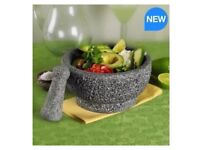 """New Casa Maria Natural Stone Pestle and Mortal 8.5"""" Grinder/ Spice Crusher"""