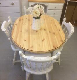 Chunky pine table and chairs
