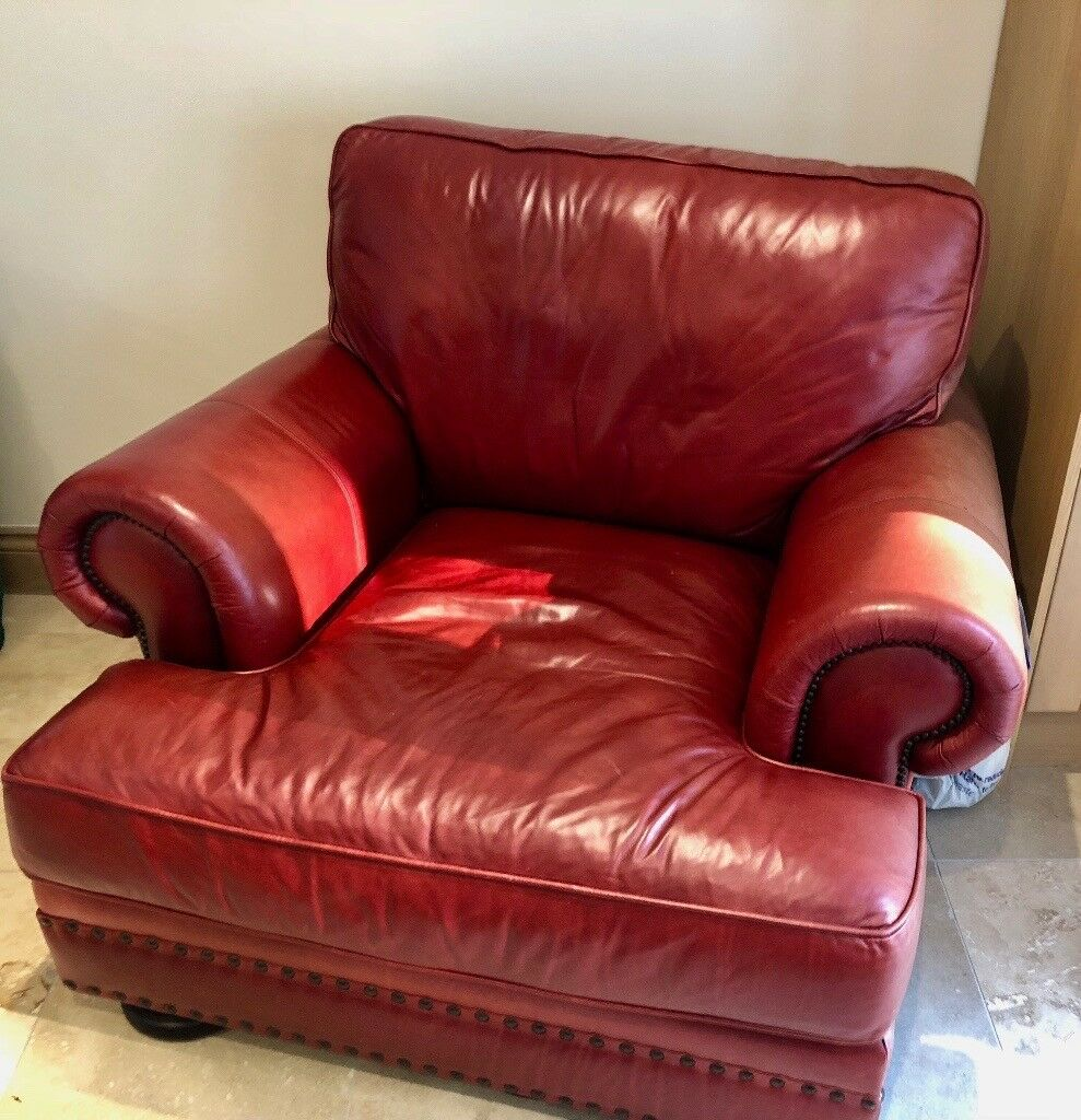 Large Leather Sofa, Chair And Ottoman
