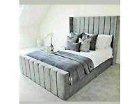 🔵SPRING SALE ON🔴KING SIZE PLUSH VELVET ROYAL WING BED FRAME w OPTIONAL MATTRESS
