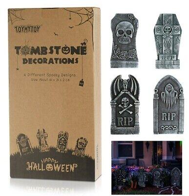 SET OF 4 Tombstones Gravestone Outdoor Halloween Decoration Prop Cemetery Haunt