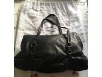 PRADA leather black leather ladies handbag, genuine, used once