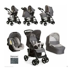 New Hauck shopper 3in1 trio pushchair buggy pram stroller car seat carrycot and raincover set