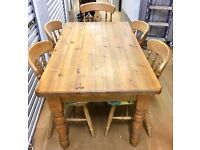 STUNNING ANTIQUE RUSTIC STYLE PINE FARMHOUSE DINING TABLE + X 5 SOLID MATCHING PINE CHAIRS -£190 ONO