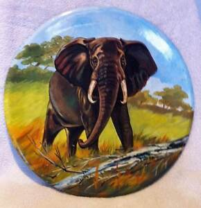 Large handmade clay plate with hand painted elephant design Broadbeach Waters Gold Coast City Preview