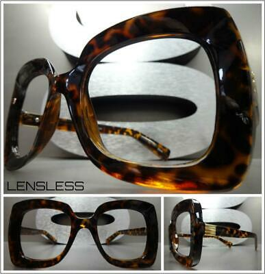 Oversized Exaggerated RETRO Large Square Lensless Eye Glasses Frame Only NO (Large Plastic Glasses)