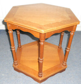 Hexagonal Coffee Table, Side Table, Plant Stand with Shelf