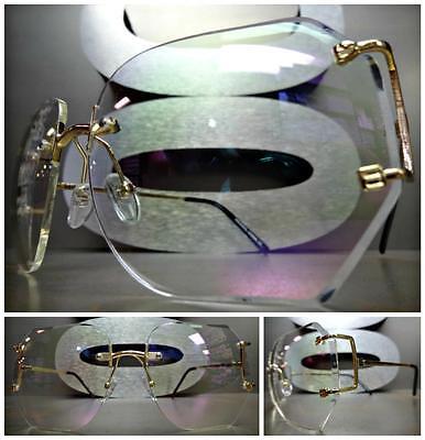 OVERSIZED VINTAGE RETRO Style Clear Lens SUN GLASSES Rimless Gold Fashion Frame