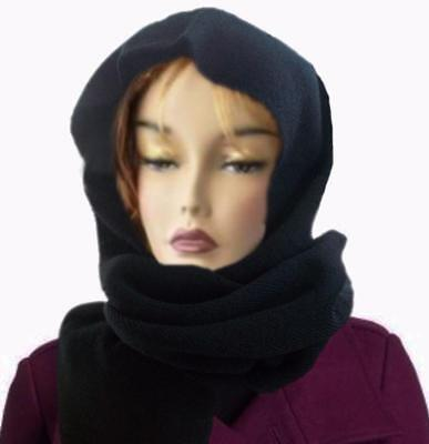 Ladies Black Knit Long Scarf Hood Hooded Winter Scarves Wrap Muffler Women's (Knit Hood Scarf)