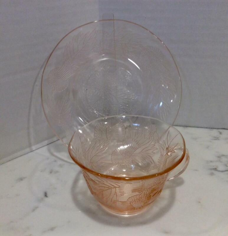 Macbeth-Evans Pink THISTLE Depression Glass Cup and Saucer