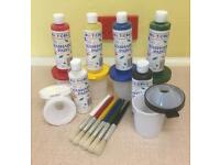 NEW MULTICOLOR 18 Piece Washable Paint Equipment, Smock & Book