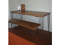 Rustic Industrial Kitchen Table and x2 Benches hairpin Legs -UK DELIVERY