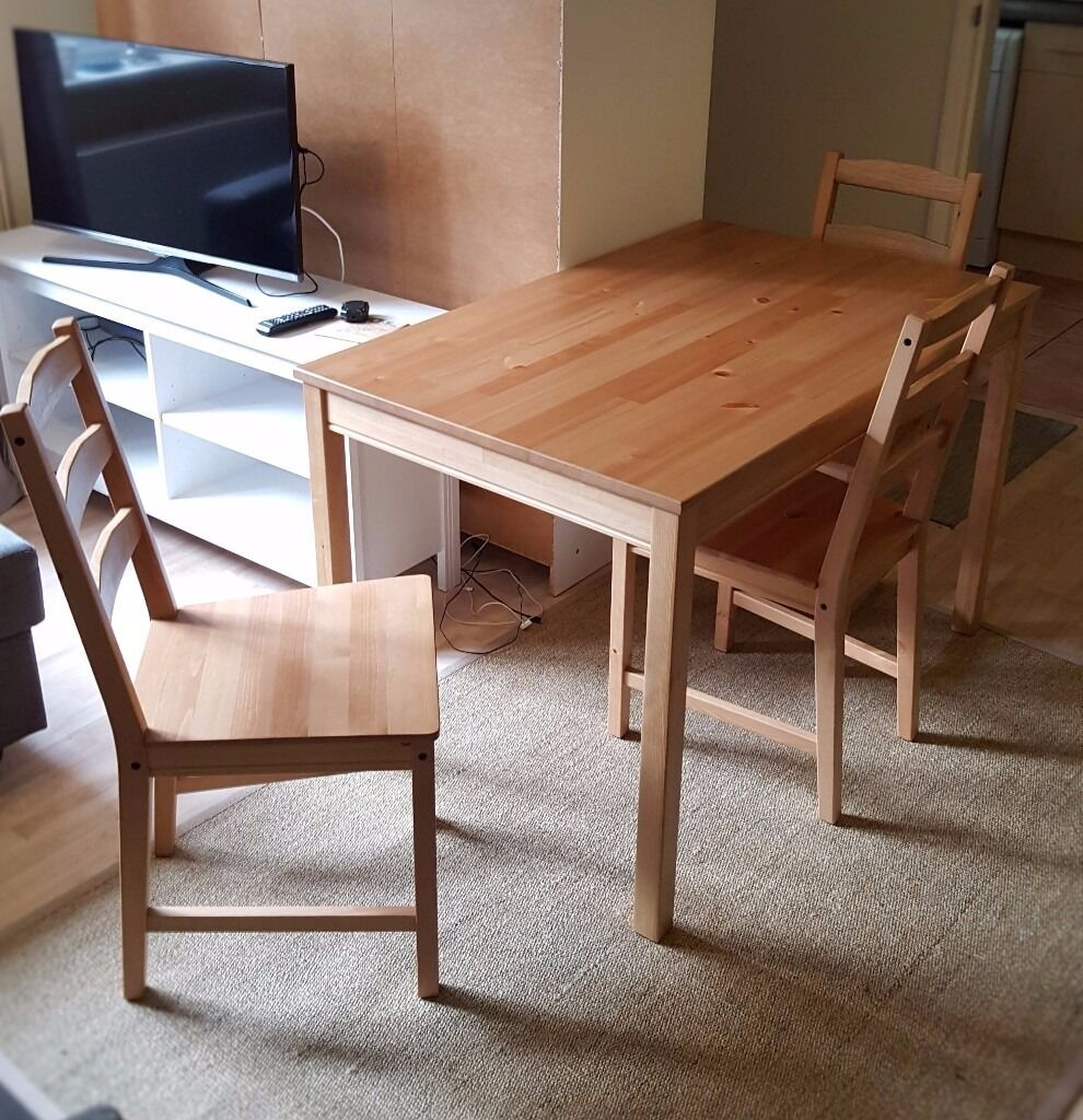 Ikea jokkmokk table and 4 chairs antique stain in for Table 4 personnes ikea