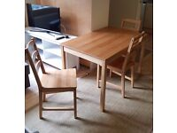 IKEA JOKKMOKK Table and 4 chairs, antique stain
