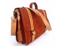 Leather briefcase. Unisex. Leather Saddle Bag