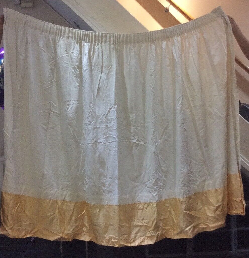 Curtains, a pair of white with gold border