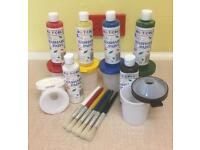 NEW MULTICOLOR 18 Piece Paint Equipment, Smock & Book