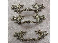 3 brass ornate Baroque/ antique style handles