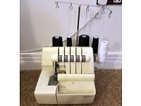 Used Singer 5 thread 14U555 overclock sewing machine overlocker 2 needles
