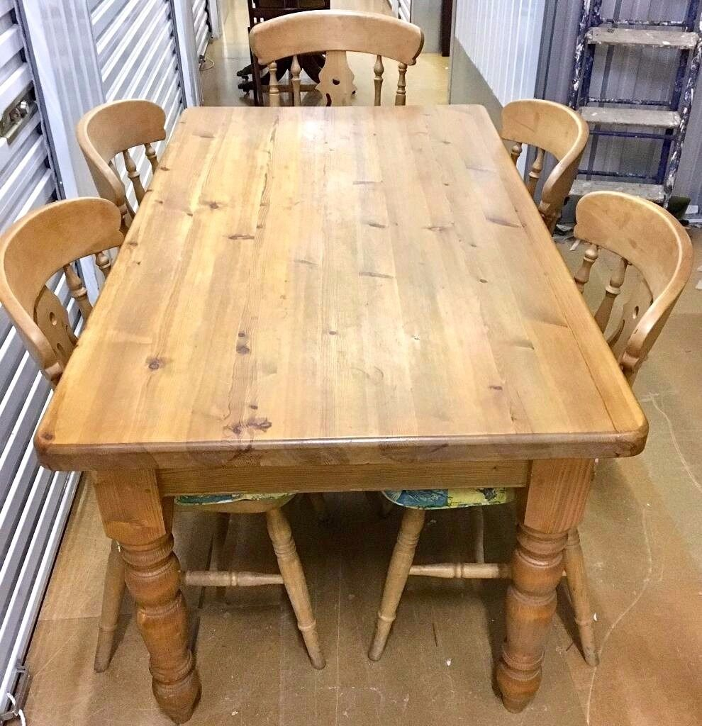 STUNNING 6 SEATER FARM HOUSE CHUNKY PINE SOLID WOOD DINING ...
