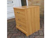 Three drawer bedside cabinet