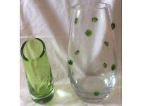 2 Glass Vases, 1 with green glass detail 29cm tall, 10cm neck diameter