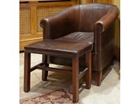 Large Leather Armchair with a Footstool as seen in 'James Bond' 007 film.