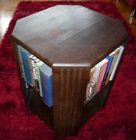 Vintage Wooden Art Deco Book Case Table Storage Side Table Octagonal