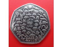 2011 50P COIN RARE WWF WORLD WILDLIFE FUND 50TH ANNIVERSARY FIFTY PENCE
