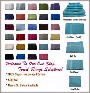 100-Cotton-Bath-Towel-Range-Single-Piece-s-or-7-Pieces-Set-Colors-Choice
