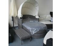 Ex Display Outdoor Garden Grey Rattan Daybed with Table