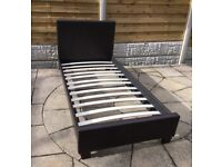 New & Boxed, Brown Leather Single Bed Frame.