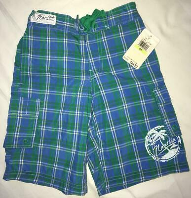 NWT Nautica Boys Blue/Green Plaid Lined Board Shorts Swim Trunks Size 4T NOS
