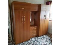 Wardrope Unit with Mirror and Drawers Teak Effect