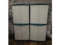 Water Resistant High Tall Plastic Cupboard Indoor Garden Storage Box Outdoor Locker Shed x2