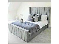 🎁🎉Furniture with attitude🎊🎁KING SIZE PLUSH VELVET ROYAL WING BED FRAME w OPTIONAL MATTRESS