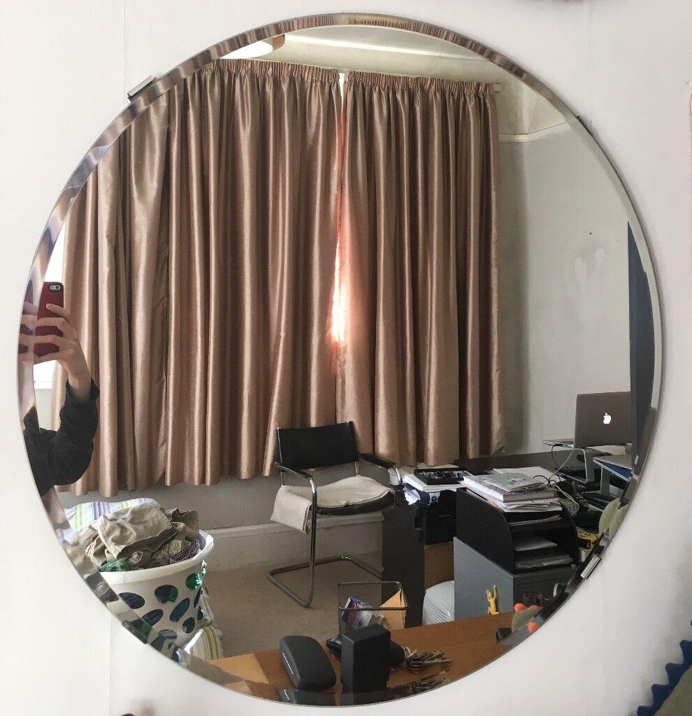 Round 75cm Mirror Bevelled Edges With Mounting Brackets Ikea Kolja Style