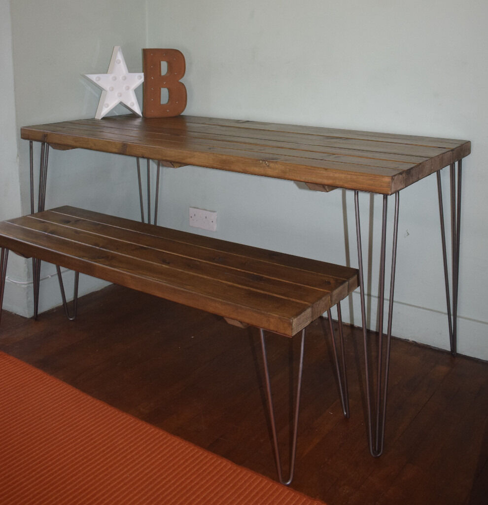 Rustic Industrial Kitchen Table and Bench hairpin Legs -UK DELIVERY