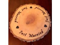 'Just Married' Natural Wood Log Slice Rustic Wedding Table Centerpiece Bases