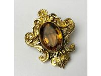 -CARTIER, LONDON- 18ct on 9ct YELLOW GOLD & CITRINE ROCOCO BROOCH BADGE -W.2996-