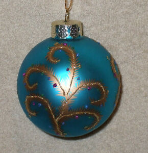Blown Glass BLUE BALL w/GOLD FEATHERS Christmas Ornament - NEW
