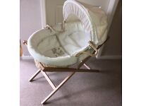 Mama and Papas Moses Basket, new mattress and wooden stand. Excellent condition. Non-smoking home.