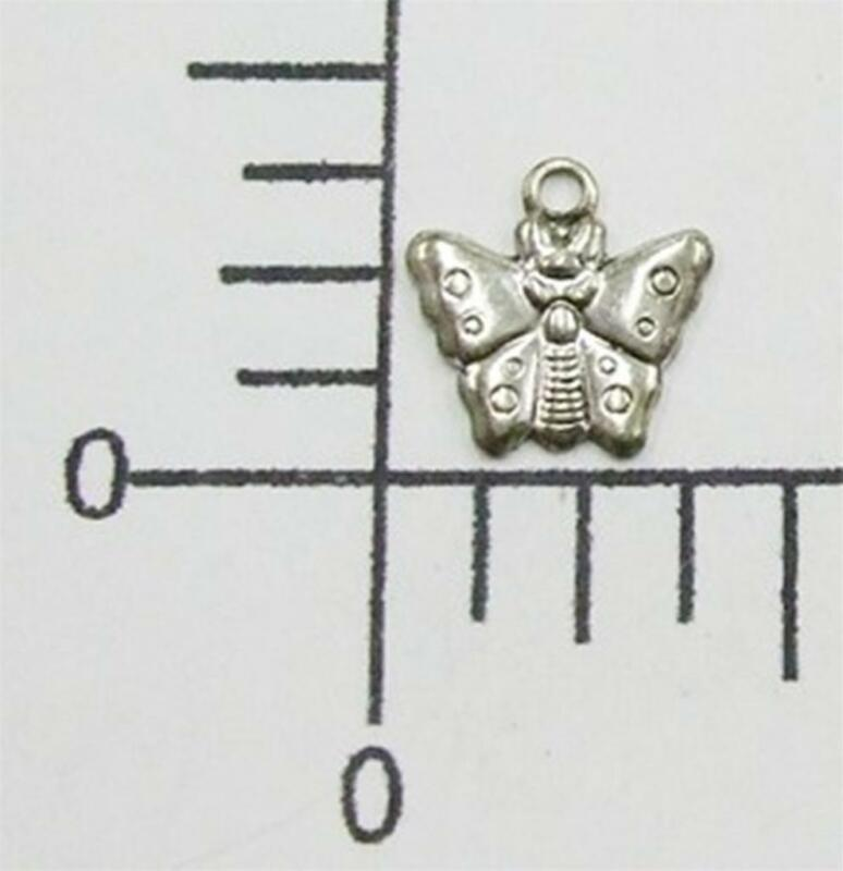 34924      12 Pc Matte Silver Oxidized Tiny Butterfly Jewelry Finding Charm SALE