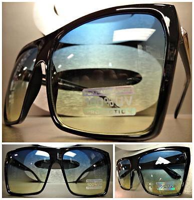 OVERSIZED VINTAGE 70s RETRO Style SUNGLASSES Huge Black Frame Blue & Yellow (70s Style Sunglasses Mens)