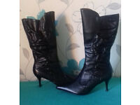 As new, size 7 FAITH knee-high boots - Real leather, IMMACULATE CONDITION