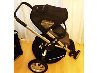 quinny buzz ,black and grey with pram body + carseat and adaptors ETC