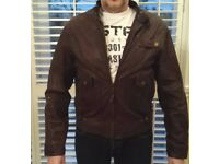 Brown mens leather jacket. Large.